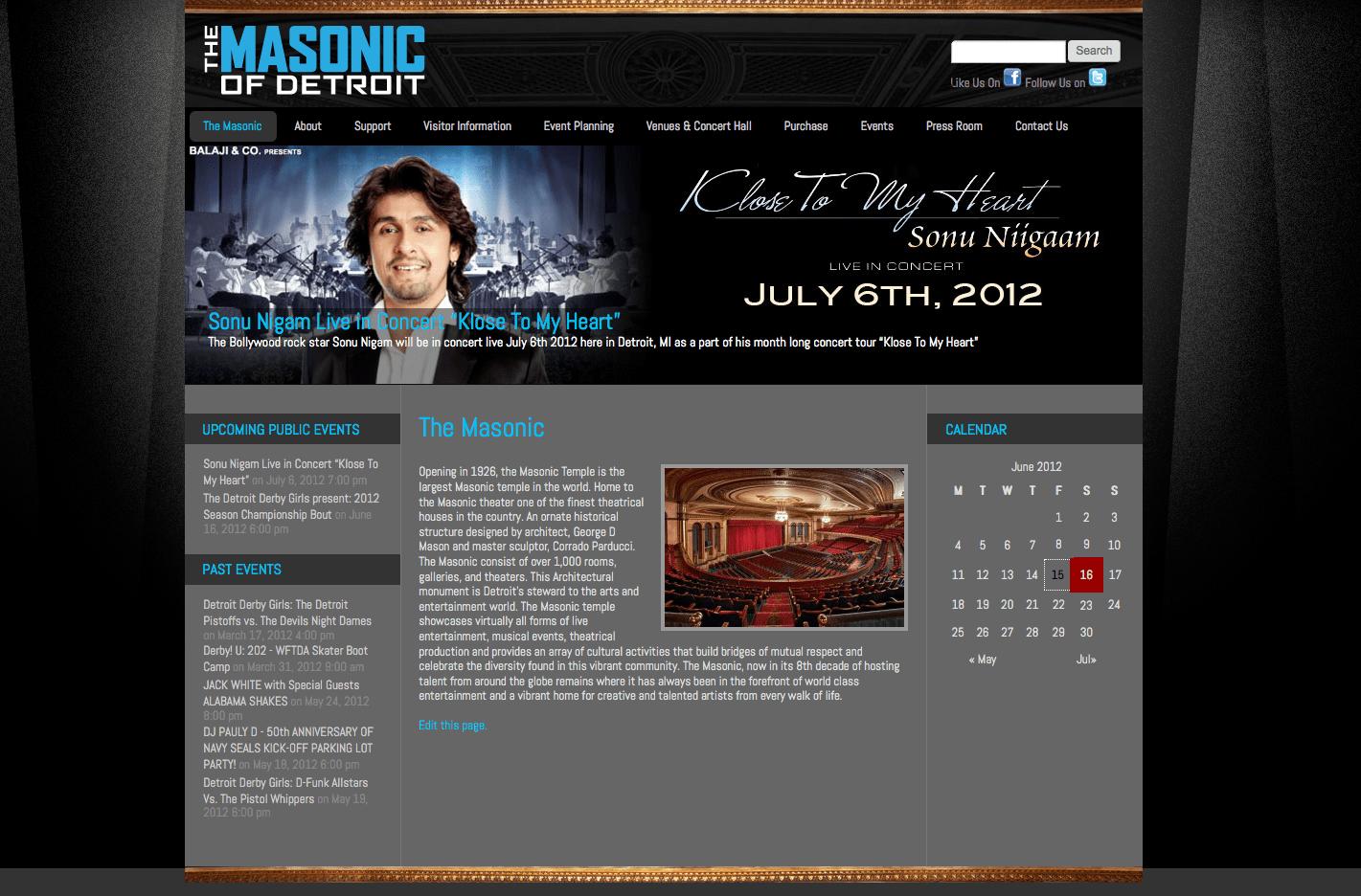 The Masonic of Detroit web site