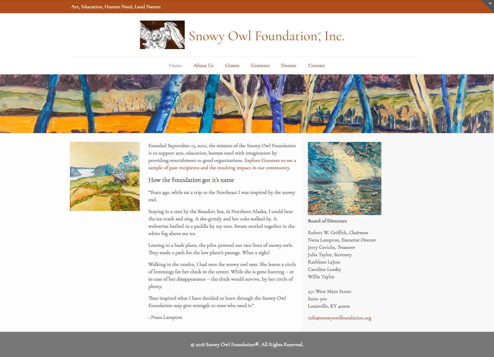 Snowy Owl Foundation Website